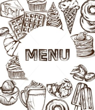 Sweets menu template Vector line art style. Ice cream, croissant, pancakes illustration - starpik