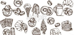 Sweets pattern Vector line art style. Ice cream, croissant, pancakes illustration - starpik