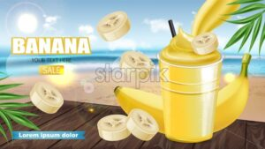 Tropic Banana smoothie Vector realistic mock up. Juicy drink with splash. Product placement. Detailed 3d illustration - starpik