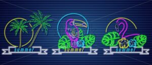 Tropic neon icons Vector set. Palm trees, parrot and flamingo detailed template - starpik