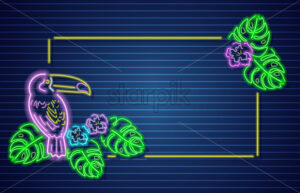 Tropic parrot neon banner Vector. Glowing frame decor template - starpik