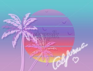 Tropic sunset california poster Vector. Colorful vintage decor symbol - starpik
