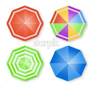 Umbrellas isolated Vector top view. colorful flat style umbrellas decor - starpik
