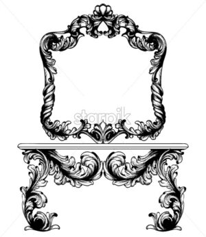 Vintage frame and table Vector line art. Classic engraved ornaments. Royal style - starpik