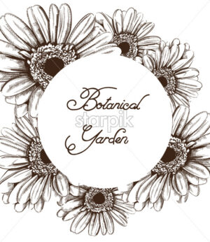 Vintage sunflower wreath card Vector line art. Boho style poster - starpik