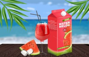 Watermelon juice Vector realistic. Product placement label design. Fresh drink mock up. Organic natural juicy refreshment 3d illustration - starpik