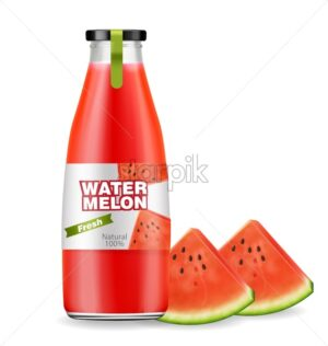 Watermelon juice bottle Vector realistic. Product placement label design. Fresh drink isolated on white - starpik