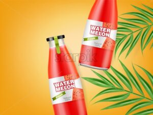 Watermelon juice bottles Vector realistic. Product placement label design. Fresh drink mock up. Organic natural juicy refreshment 3d illustration - starpik