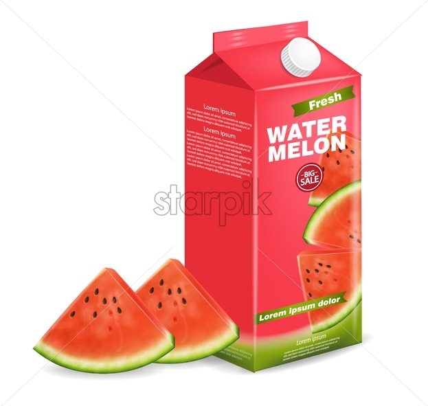 Watermelon juice box Vector realistic. Product placement label design. Fresh drink isolated on white - starpik