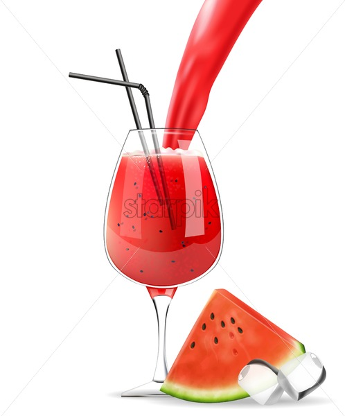 Watermelon juice glass pourring Vector realistic. Product placement label design. Fresh drink isolated on white - starpik