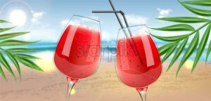 Watermelon juice in glasses Vector realistic. Fresh smoothie drink Organic natural juicy refreshment 3d illustration - starpik