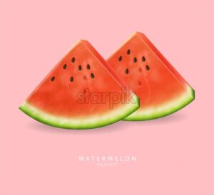 Watermelon slices Vector realistic. Summer tropic refreshing banner. 3d detailed juicy fruits slice - starpik
