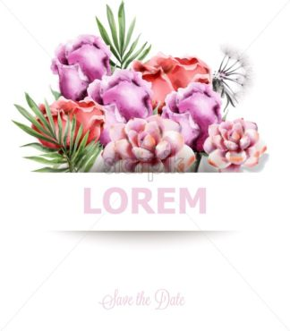 Wedding card with colorful flowers Vector watercolor. Roses and succulents floral decor - starpik