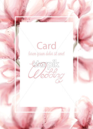 Wedding card with pink flowers Vector watercolor. Delicate floral frame decor - starpik