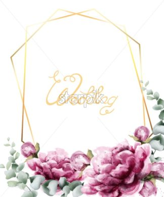 Wedding invitation roses watercolor Vector. Beautiful flowers card in golden abstract frame. Summer botany decor - starpik
