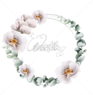 Wedding wreath flowers bouquet watercolor Vector. Beautiful floral card frame with green leaves. Summer botany decor design - starpik