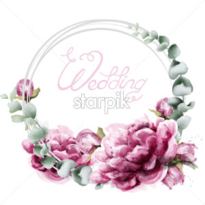 Wedding wreath roses watercolor Vector. Beautiful flowers card with green leaves. Botany decor design - starpik