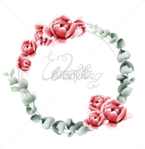 Wedding wreath roses watercolor Vector. Beautiful flowers card with green leaves. Summer botany decor - starpik