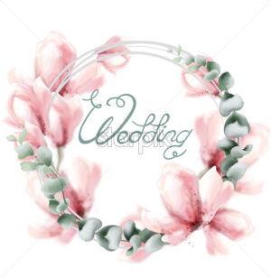Wedding wreath with pink flowers Vector watercolor. Delicate floral frame decor - starpik