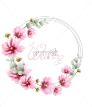 Wedding wreath with summer colorful flowers Vector watercolor card. Floral frame decor - starpik