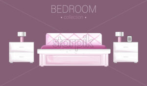 White bedroom interior watercolor Vector. Modern style design - starpik