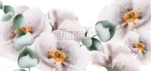 White flowers watercolor Vector. Beautiful floral card summer background - starpik