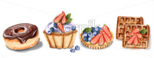 donuts cupcake and waffles Invitation card Vector watercolor. Chocolate strawberry sweet decor - starpik