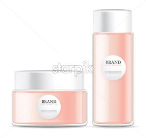 lotion cream isolated pink bottles Vector realistic mock up. Product placement label design. 3d illustration - starpik