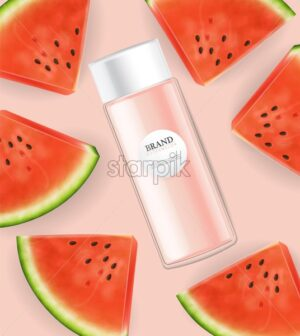 lotion cream watermelon Vector realistic mock up. Product placement label design. Pink background. 3d illustration - starpik