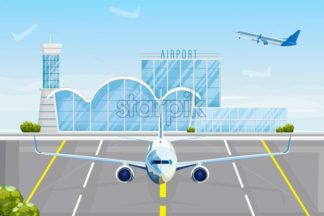 Airplane at the airport Vector flat style. Front view plane next to the airport facade. Travel concept template banner advertise - starpik