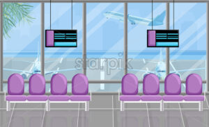 Airport waiting room at the gates with screen Vector flat style. Airplane view. Tourism travel concept background - starpik
