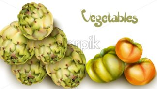 Artichokes and green tomatoes Vector watercolor. Grocery harvest fresh organic. poster sticker advertise - starpik