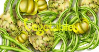 Artichokes, green peas and tomatoes Vector watercolor. Grocery harvest fresh organic. poster sticker advertise - starpik