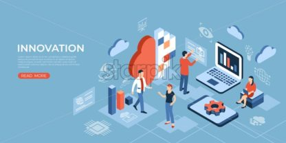 Artificial intelligence technology isometric 3d icons infographics with people, digital vector advert - starpik
