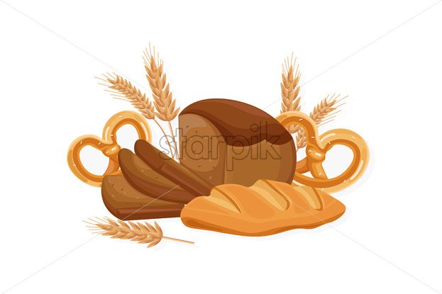 Bakery Vector. Black bread, bread roll, croissant. Front view detailed illustration - starpik