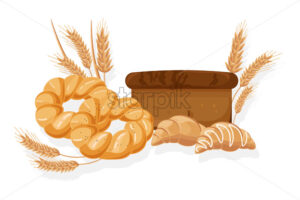 Bakery Vector. Bread, bread roll, croissant Front view detailed illustration - starpik