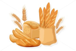 Bakery set Vector. Bread, baghet, rye Front view detailed illustration - starpik