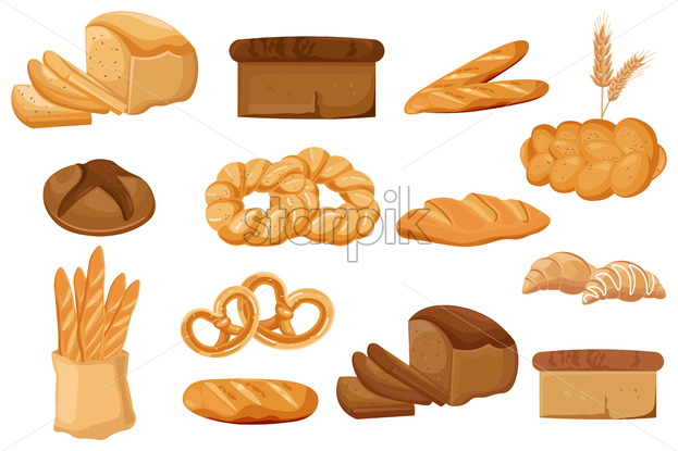 Bakery set Vector. Bread, pretzel, croissant Front view detailed illustration - starpik
