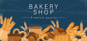 Bakery shop Vector. Bread, pretzel, croissant Front view detailed illustration - starpik