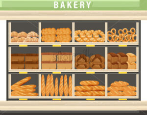 Bakery shopping stands Vector. Bread, pretzel, croissant. Front view detailed illustration - starpik