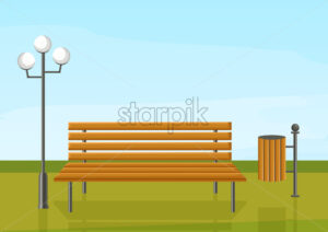 Bench in the park Vector flat style. wooden chair green grass and a lamp outdoors illustration - starpik