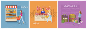Bread, meat and vegetables stands shopping Vector flat style - starpik