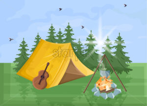 Camping Vector flat style. Park nature outdoors background - starpik