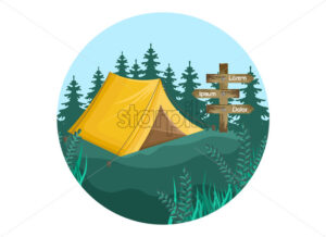 Camping icon Vector flat style. Park nature outdoors background - starpik