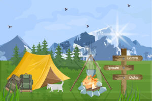 Camping in the mountains Vector flat style. Park nature outdoors background - starpik