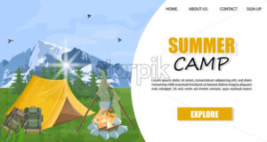 Camping in the mountains Vector template. Layout brochure concept. Park nature outdoors background - starpik