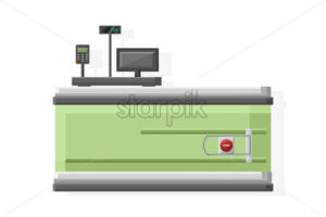 Cashier in the supermarket Vector flat style isolated on white - starpik