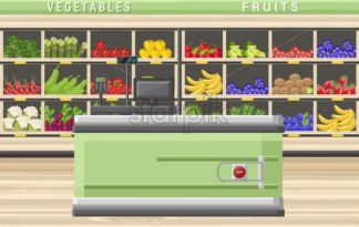 Cashier in the supermarket Vector flat style. Sale food stands on background - starpik