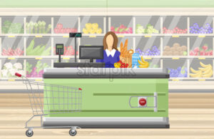 Cashier in the supermarket Vector flat style. Sale manager and food stands on background - starpik