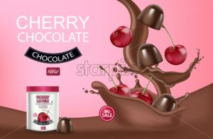 Cherry chocolate Vector realistic mock up. Chocolate splash background. Product placement label design. 3d illustration - starpik